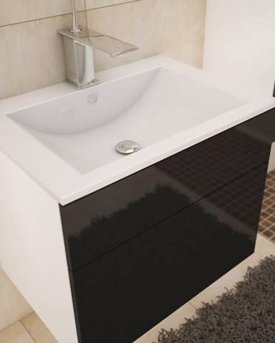 PORTO, skříňka pod umyvadlo, bílá/černý lesk