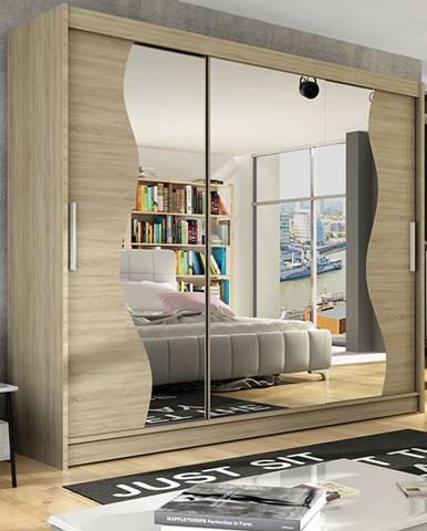 Šatní skříň ASTON S, dub sonoma/zrcadlo