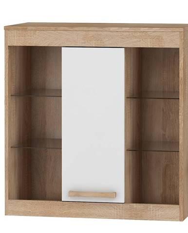 Závěsná skříňka 1D MAXIMUS 40, dub sonoma/bílý lesk