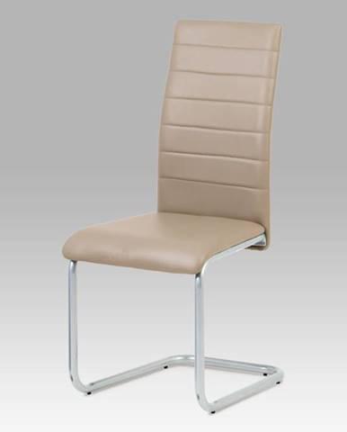 Jídelní židle DCL-102 CAP, koženka cappuccino/šedý lak