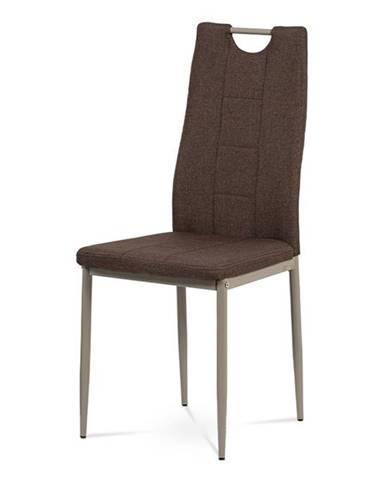 Jídelní židle, hnědá látka, kov cappuccino lesk DCL-393 BR2