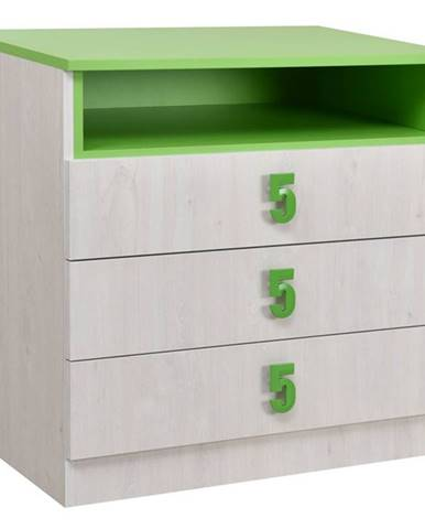 NUMERO komoda 3F, dub bílý / zelená