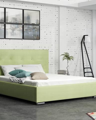 Čalouněná postel SOFIE 1 140x200 cm, zelená látka