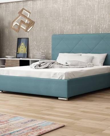 Čalouněná postel SOFIE 5 160x200 cm, modrá látka