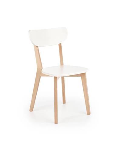 Jídelní židle BUGGI, bílá/přírodní