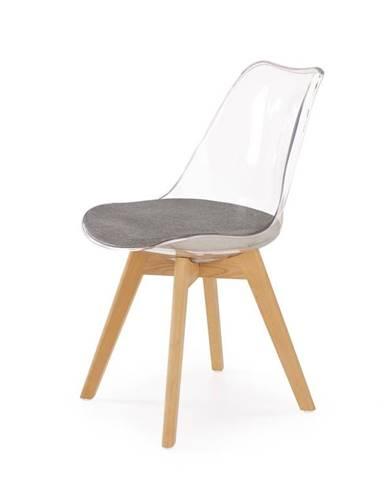 Jídelní židle K-342, průhledná/šedá