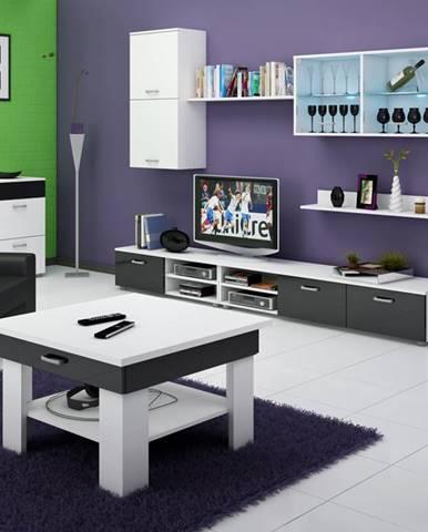 Konferenční stolek OMEGA, bílá/černý lesk