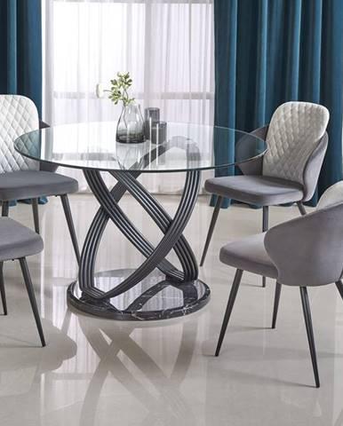 Kulatý jídelní stůl OPTICO, čiré sklo/černá