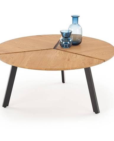 Kulatý konferenční stolek LUANA, dub zlatý/černá