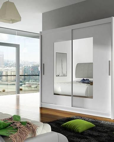 Šatní skříň BEGA VII, bílý mat/zrcadlo