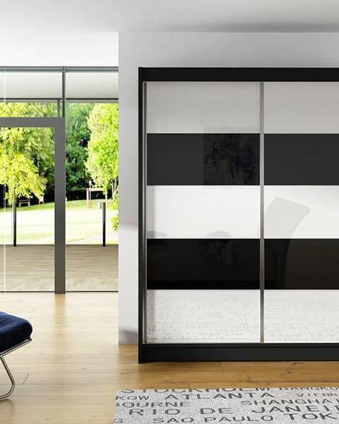 Smartshop Šatní skříň VITO III, černý mat/bílé sklo+černé sklo