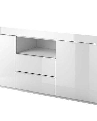 HELIO TYP 25 komoda 2D2S, bílá/bílá sklo