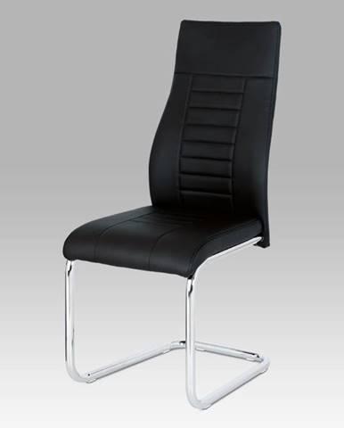 Jídelní židle HC-955 BK, černá koženka / chrom