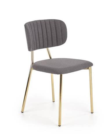 Jídelní židle K-362, tmavě šedá/zlatá