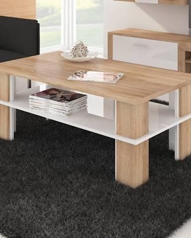 Konferenční stolek FUTURA 2, dub sonoma/bílý lesk