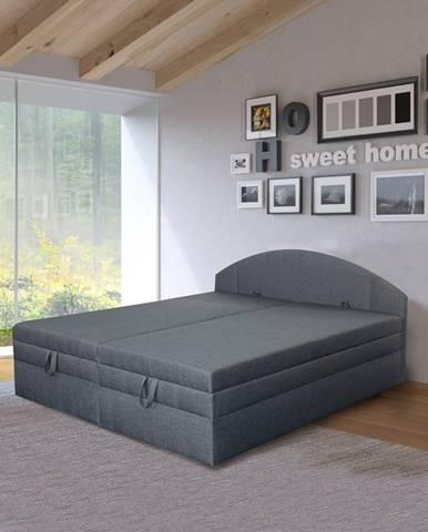 Polohovací čalouněná postel VESNA 180x200 cm, tmavě šedá látka
