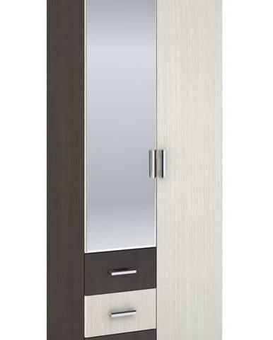 Šatní skříň 2-dveřová ROCHEL 45 cm belfort/wenge (ROCHEL SK802-D2 SKŘÍŇ 2D3S+ZRC.45 dub belfort)