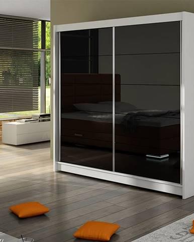 Šatní skříň FALCO I, bílý mat/černé sklo