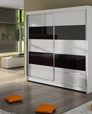 Šatní skříň FALCO IV, bílý mat/bílé sklo+černé sklo