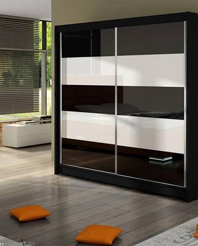 Šatní skříň FALCO IV, černý mat/bílé sklo+černé sklo
