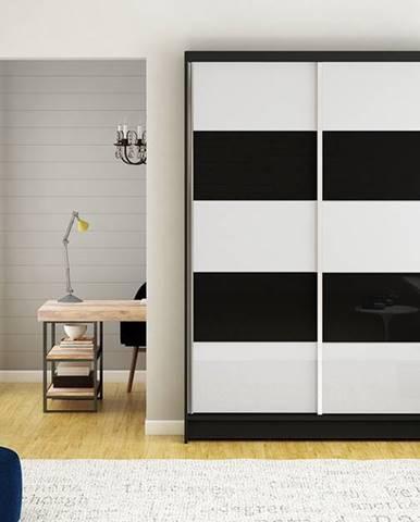 Šatní skříň MONTANA III, černý mat/bílé sklo+černé sklo