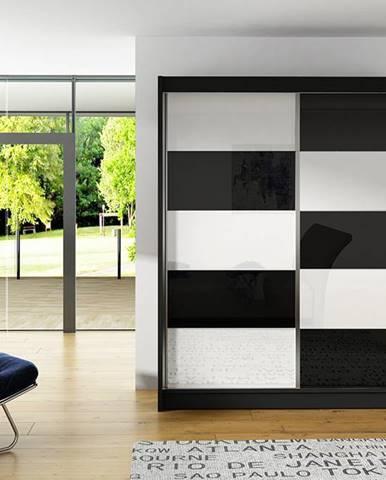 Šatní skříň VITO II, černý mat/bílé sklo+černé sklo