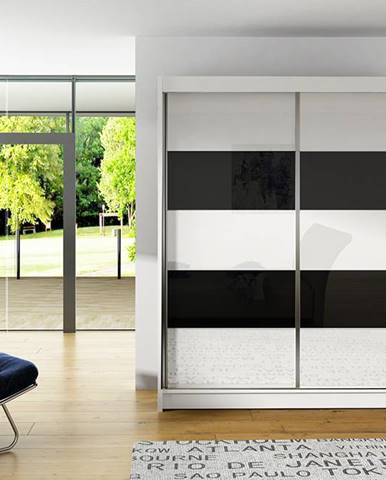Šatní skříň VITO IV, bílý mat/bílé sklo+černé sklo