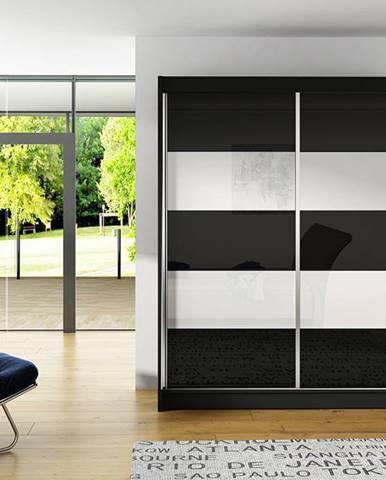 Šatní skříň VITO IV, černý mat/bílé sklo+černé sklo