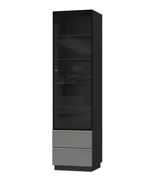 Smartshop HELIO TYP 05 vitrína 1D2S, černá/šedé sklo
