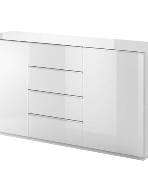 Smartshop HELIO TYP 26 komoda 2D4S, bílá/bílá sklo