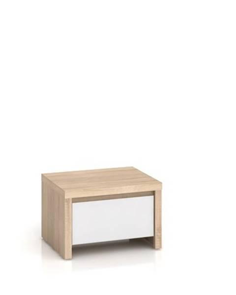 Black Red White KASPIAN, noční stolek KOM1S, sonoma/bílý lesk