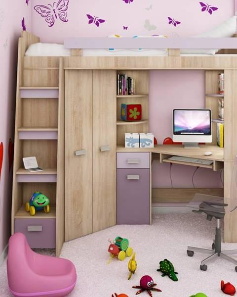 MORAVIA FLAT Multifunkční postel ANTRESOLA levá, barva: dub sonoma/levandulová/fialová