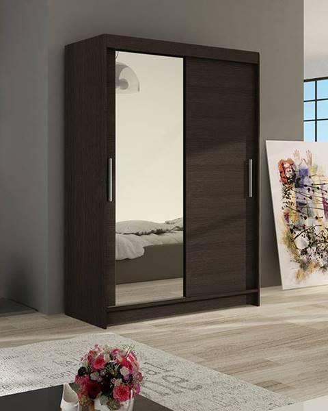Smartshop Šatní skříň MIAMI VI, choco/zrcadlo