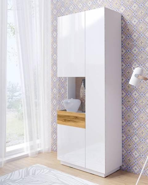 Smartshop SILKE TYP 12 vitrína 2D, levé provedení, bílá/bílý lesk/dub wotan