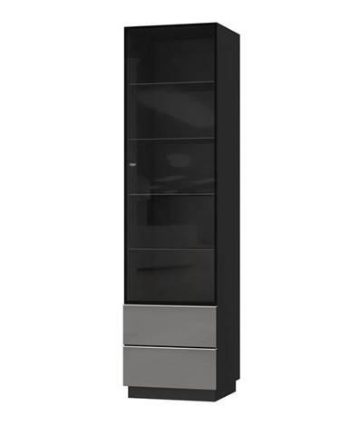 HELIO TYP 05 vitrína 1D2S, černá/šedé sklo
