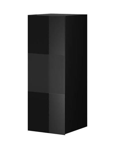 HELIO TYP 07 závěsná vitrína 1D, černá/černé sklo