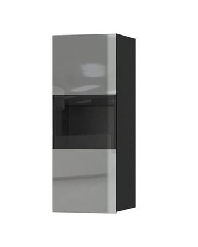 HELIO TYP 07 závěsná vitrína 1D, černá/šedé sklo