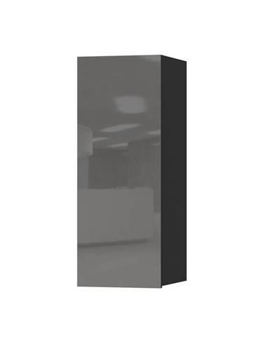 HELIO TYP 08 závěsná skříňka 1D, černá/šedé sklo