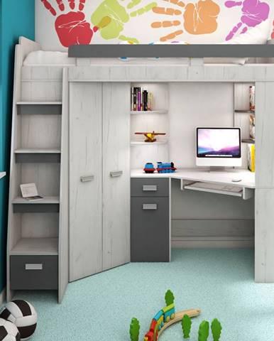 Multifunkční postel ANTRESOLA levá, craft bílý/grafit, 5 let záruka