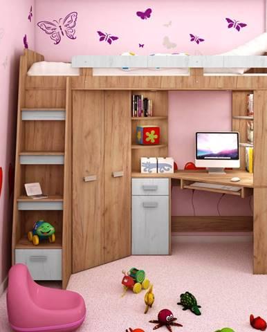 Multifunkční postel ANTRESOLA levá, craft zlatý/craft bílý, 5 let záruka
