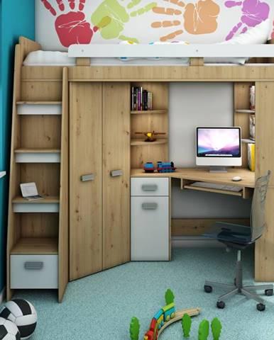 Multifunkční postel ANTRESOLA levá, dub artisan/bílá, 5 let záruka