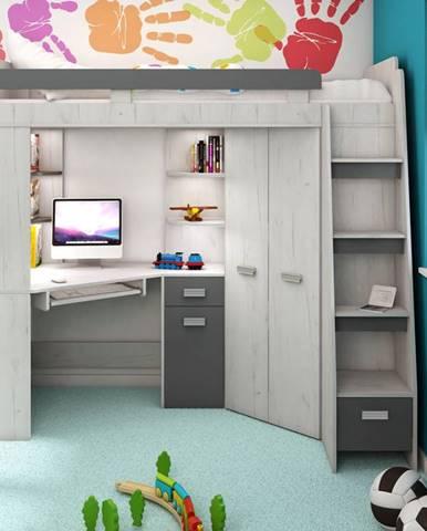 Multifunkční postel ANTRESOLA pravá, craft bílý/grafit, 5 let záruka