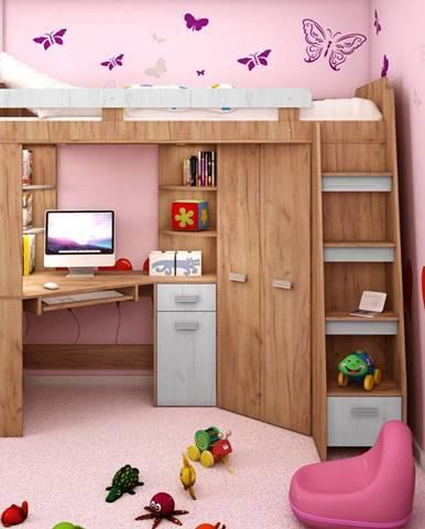 Multifunkční postel ANTRESOLA pravá, craft zlatý/craft bílý, 5 let záruka