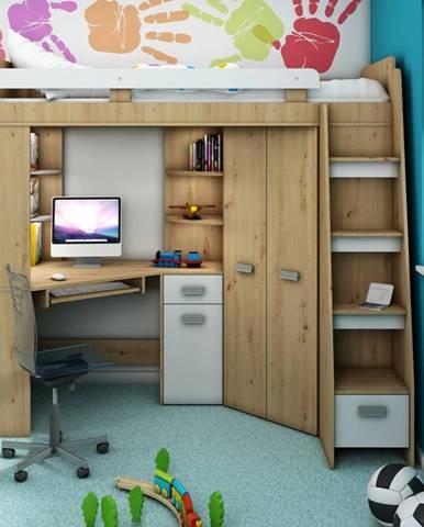 Multifunkční postel ANTRESOLA pravá, dub artisan/bílá, 5 let záruka