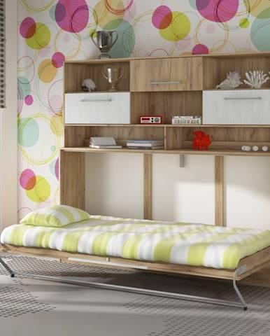 ROGER, multifunkční postel s nastavbou, craft zlatý/craft bílý