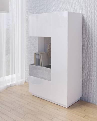SILKE TYP 42 vitrína nízká 2D, levé provedení, bílá/bílý lesk/beton colorado