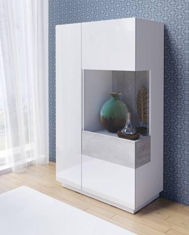 SILKE TYP 44 vitrína nízká 2D, pravé provedení, bílá/bílý lesk/beton colorado
