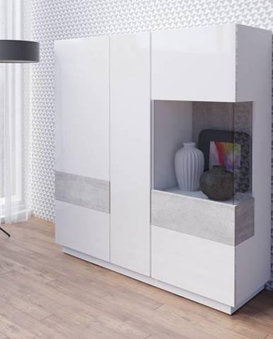 SILKE TYP 46 vitrína 3D, bílá/bílý lesk/beton colorado