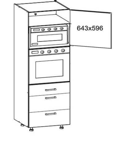 SOLE vysoká skříň DPS60/207 SAMBOX pravá, korpus šedá grenola, dvířka bílý lesk