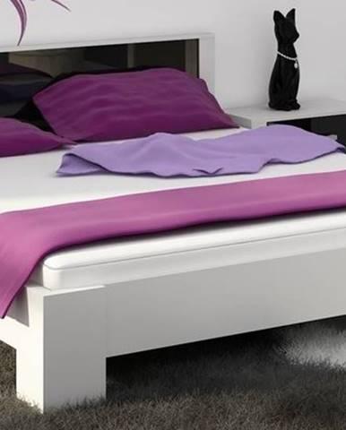 VIKI, postel 160x200 cm vč. roštu, bílá/černý lesk